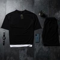 Летний комплект футболка + шорты Oversize Black FS