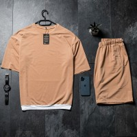 Летний комплект футболка + шорты Oversize Beige FS